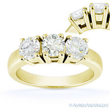 Round Cut Moissanite 14k Yellow Gold 4Prong Basket 3 Three-Stone Engagement Ring