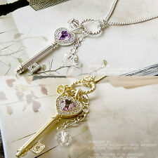 Rhinestones Jewelry Violet Crystal Love Key Crown Necklace Sweater Chain Fashion