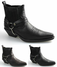 Mens Black Brown Western Cowboy Biker Boots Leather Look All Sizes