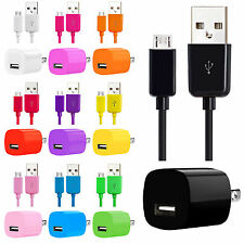 Micro USB Charger Sync Data Cable For Samsung Galaxy S3 S4 S5 + Wall Adapter Lot