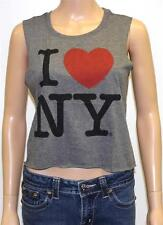 American Eagle Outfitters LST & FND NY Graphic Crop Tank Womens Gray Tee New NWT