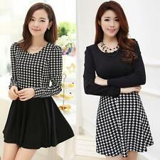Fashion Women's Long Sleeves Houndstooth Casual Party Skater Pleated Mini Dress
