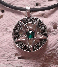 Inverted Star Pentagram Pentacle Green Crystal Satanism Wicca Esoteric keychain