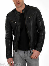 100% Genuine Lambskin Leather Jacket Designer Biker Blazer Men's - Black