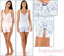 Ladies Peach Blue Floral Lace Summer Shortie Shorts Pyjamas Set Size 10-20