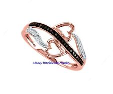 10K ROSE GOLD BRANDY CHOCOLATE BROWN  & WHITE DIAMOND SIDE BY SIDE HEART RING