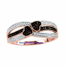 10K ROSE GOLD BRANDY CHOCOLATE BROWN  & WHITE DIAMOND HEART TO HEART RING