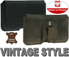 PIANO GENUINE REAL LEATHER HOLSTER WITH BELT CLIP POUCH CASE - RANGE OF MODELS