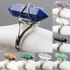 Wire Wrap Six Pyramid Gem Stone Rings Opal/Amethyst/Malachite/Fluorite/Turquoise