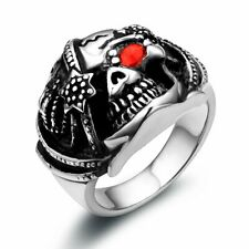Gothic Biker Punk Pirate Skull Stainless Steel Ring Mens Boys Band Size 7-12