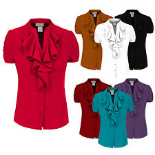 NE PEOPLE Women's 7Colors Solid Ruffle Short Sleeve Button Down Blouse NEWT08