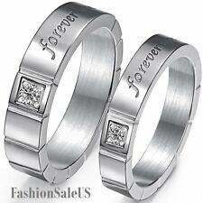 "6mm/4mm ""Forever Love"" Stainless Steel Ring Mens Womens Engagement Wedding Band"