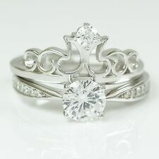 Womens 925 Sterling Silver Solitaire Crown Engagement Wedding Ring Band Set