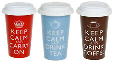 KEEP CALM TRAVEL MUG CERAMIC DOUBLE WALLED CARRY ON DRINK TEA And COFFEE CUP