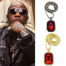 MENS HIP HOP ICED OUT RICH GANG BIRDMAN RUBY ONYX SQUARE PENDANT CHAIN NECKLACE