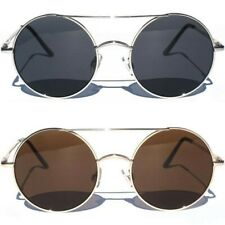 Large Oversize Round Circle Front Sunglasses With Crossbar Metal Frame Sunnies