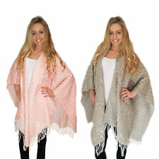 Womens Blanket Wrap Boutique Ladies Leopard Print Shawl Tassel Fringe Cape Coat