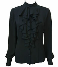 BNWT Black FRILLY BLOUSE SIZES 10,12,14,16,18,20 black FRILLY TOP Smart, RUFFLE