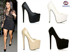 LADIES WOMENS CONCEALED PLATFORM POINTED TOE VERY HIGH STILETTO HEEL COURT SHOES