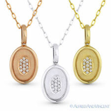 0.04 ct Round Cut Diamond 14k Rose White Yellow Gold Oval Pendant Chain Necklace