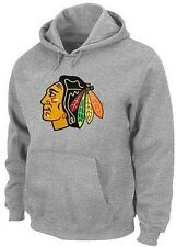 Chicago Blackhawks Majestic Big Logo Pullover Hoodie Sweatshirt Gray Big Sizes