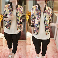 1PC Women Stand Collar Long Sleeve Zipper Floral Printed Bomber Jacket Hoc