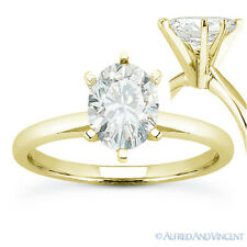 Oval Cut Forever Brilliant Moissanite 14k Yellow Gold Solitaire Engagement Ring