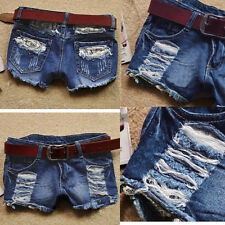 Sexy Women's Low Waist Mini Denim Jean Shorts DISTRESS HOT Pants Wash Trousers