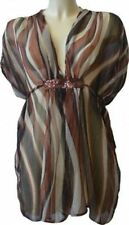 LADIES SRIPPED BROWN SHEER CHIFFON BEACH TOP TUNIC SUMMER COVER UP KAFTAN DRESS