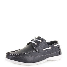 MENS CASUAL LEATHER STYLE NAUTICAL DECK BOAT FASHION SHOES UK SIZE