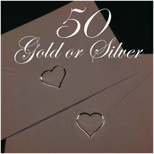 50 Wedding Invitation Envelope Seals in Gold or Silver Heart