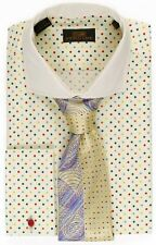 Steven Land Men's Polka Dot  Multi 100% Cotton Cuff Dress Shirt Style#DS1546