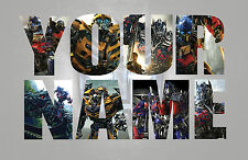 Personalised Kids Nursery Transformers Name Wall decal stickers *3 SIZES*