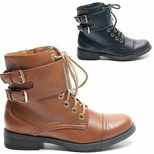 NEW WOMENS BOOTS LADIES SHOES ANKLE BUCKLE LOW HEEL FLAT WINTER CASUAL SIZE