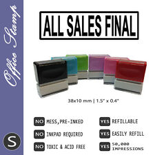 ALL SALES FINAL, Style B, Size S, Pre-inked office rubber stamp (#760106-BS)