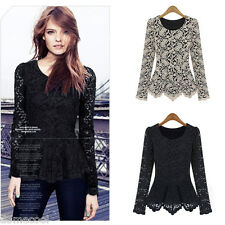 Women Long Sleeve Lace Casual T-Shirts Lady Peplum Slim Fit Tee Top Sheer Blouse