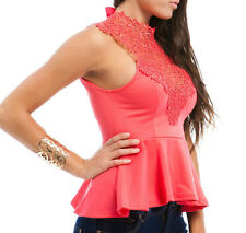 New Women Junior Lace Peplum Top Blouse Shirt in Coral Pink Casual Evening