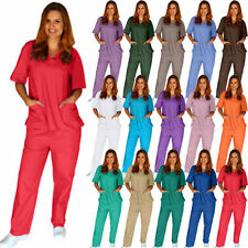 LOWEST PRICE ON EBAY! Unisex Solid Scrubs Top and Pant Medical Nursing Uniforms