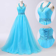 Sexy Backless Halter Organza Ball Gown CocktailEvening Prom Dance Party Dress