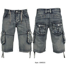 MENS ETO SHORTS DENIM CARGO COMBAT SUMMER SHORTS ALL SIZES 28 TO 48
