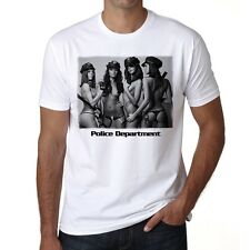 Police sexy girls department black and white Tshirt Homme T-shirt