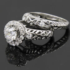 Womens Sterling Silver Solitaire Sim Diamond Halo Wedding engagement Ring Set