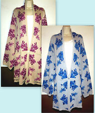 Womans Plus 5X Shawl Collar Floral Cotton Blend  Sweater Cardigan New in Package