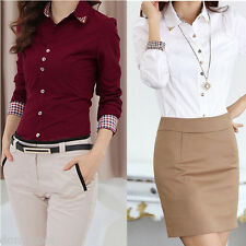 New Women Long Sleeve OL Career T-Shirt Lady Turn-down Collar Button Blouse Tops