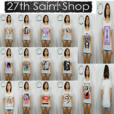 27th Saint Shop Womens Boyfriend Tumblr T Shirt All RollUp Sleeve Hipster Ladies