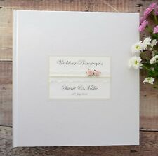 Large Personalised Book Bound Ivory Wedding Photograph Album. 50 PAGES/100 SIDES