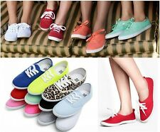 Women Candy Color Glow Platform Plimsoll Sneakers Canvas shoes Caual Lace Up B