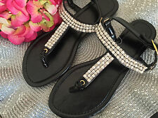 CRYSTAL PEARL STUDDED BLACK FAUX LEATHER T-STRAP THONG WOMEN'S SANDALS CLAIRE'S!
