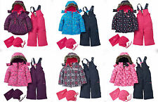 OshKosh Toddler Girls 4PC Floral Hearts Snowsuit Jacket Bib Hat NeckWarmer NWT