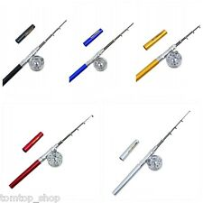 Portable Pocket Aluminum Alloy Fishing Rod Pen Shape Pole Fish Reel Line NEW